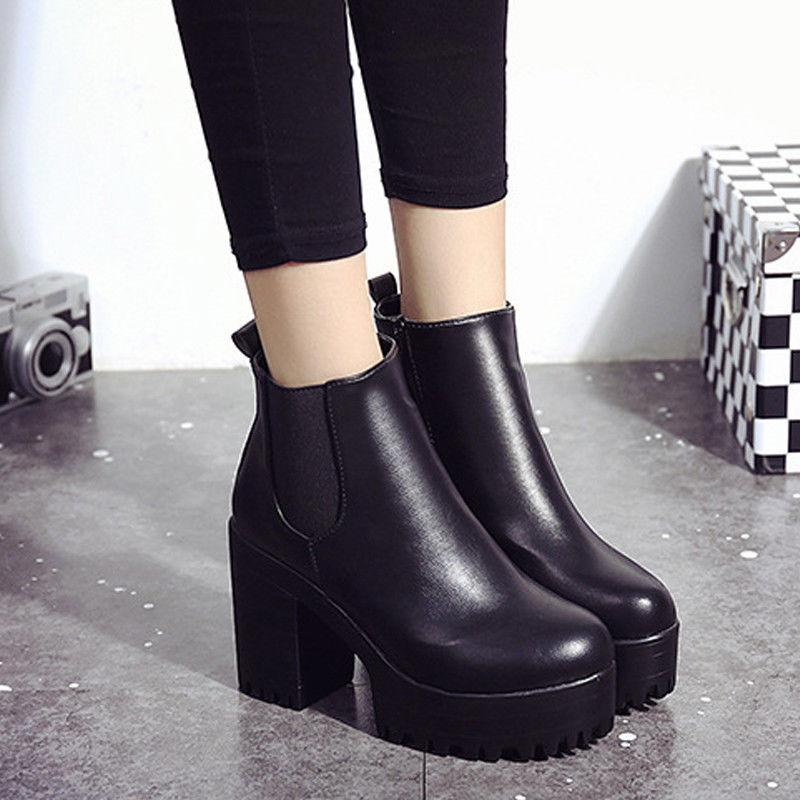 Womens Martin Tick Ankle Boots Heel Leather US