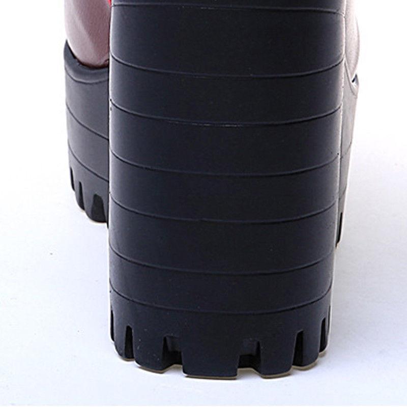 Womens Tick Platform Zipper Boots Heel US
