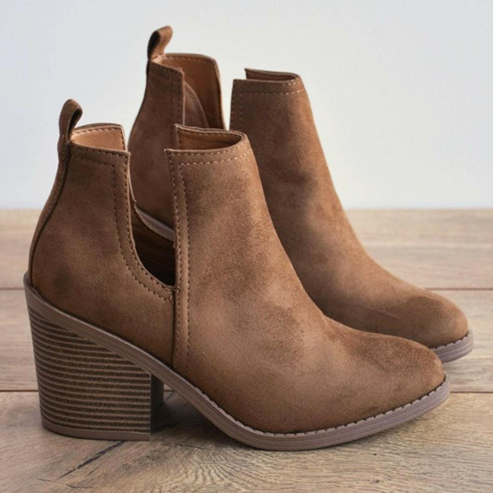 Womens Heels Medium Round Toe Ankle Height Fall Casual Forma