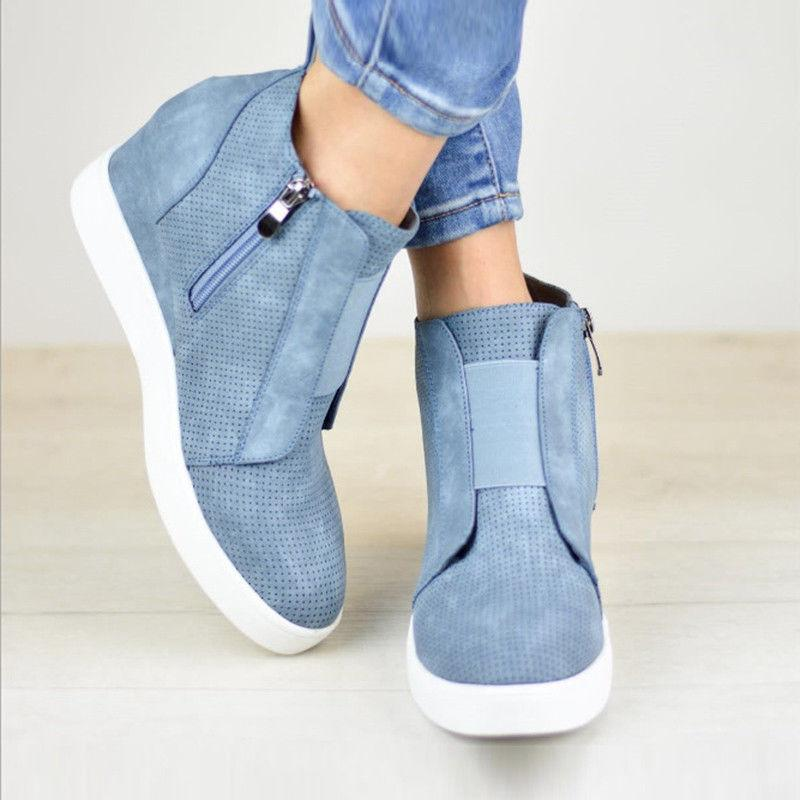 Womens Mid Heel Sneakers Booties Size