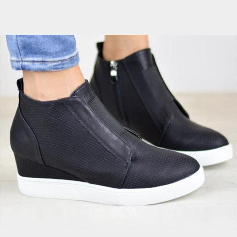Womens Hidden Mid Ankle Sneakers Booties Size