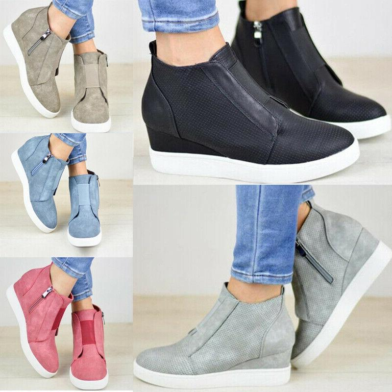 womens hidden wedge low mid heel ankle