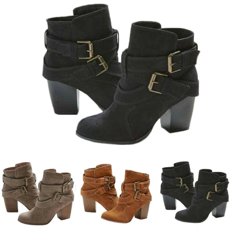Womens High Heel Ankle Boots Toe Booties Size