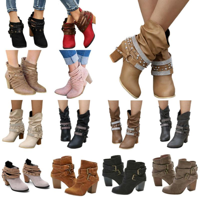 womens high heel buckle ankle boots pointed
