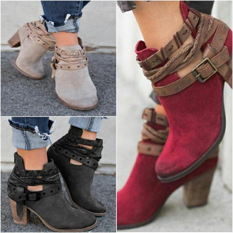 Womens Heel Ankle Boots Pointed Booties Autumn Winter Size