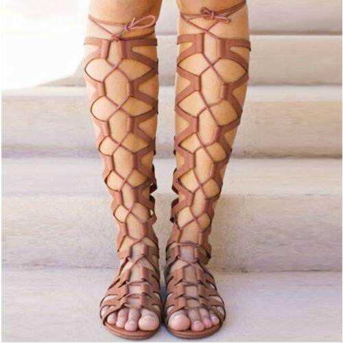 Womens Knee High Out Flat Gladiator 7.5-10