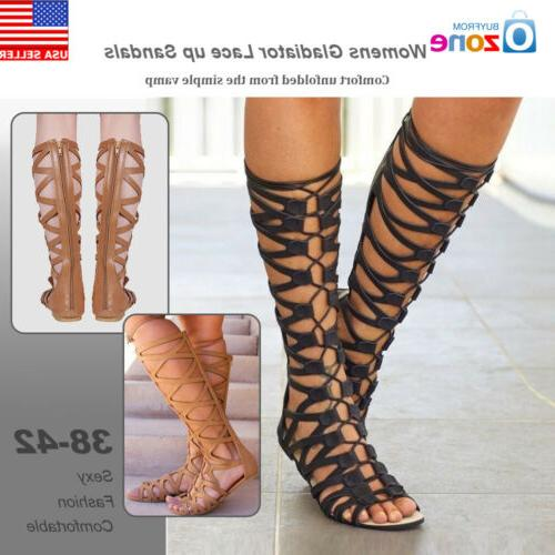 womens knee high cut out lace up