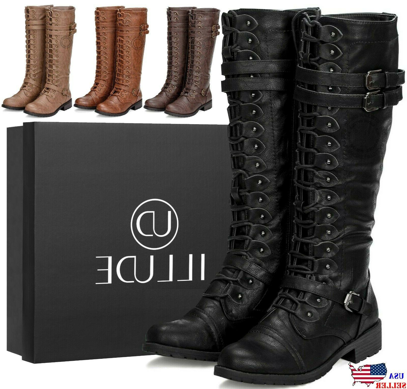 womens knee high lace up buckle fashion