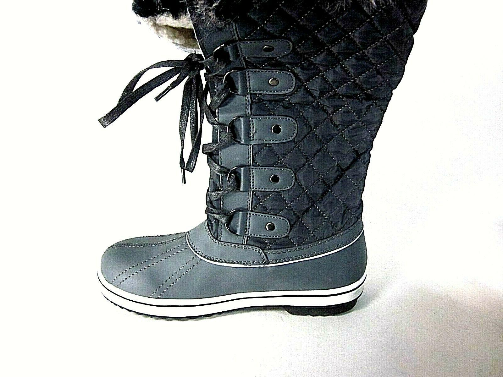 ALEADER Lace Up Cold Boots, Dark Grey US Size M