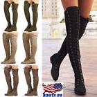 Womens Lace Up Low Heel Thigh High Over The Knee Stretch Rid
