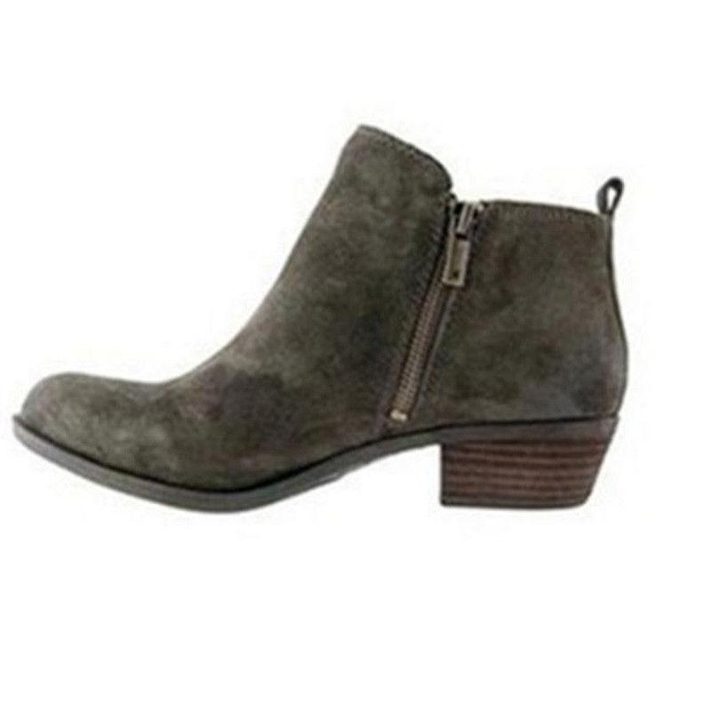 Womens Booties Ankle Ladies Toe Zip On Shoes Size
