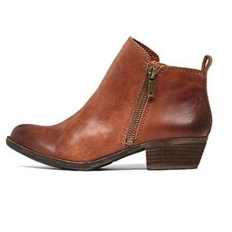 Womens Ankle Boots Toe Zip Up On Shoes Size