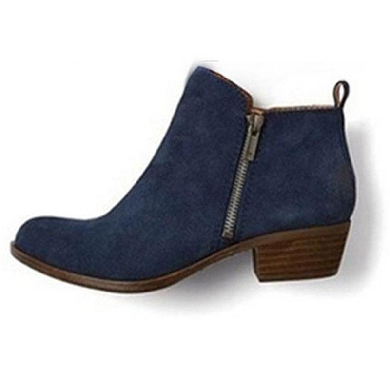 Womens Booties Low Ankle Boots Round Toe Zip Up On Shoes