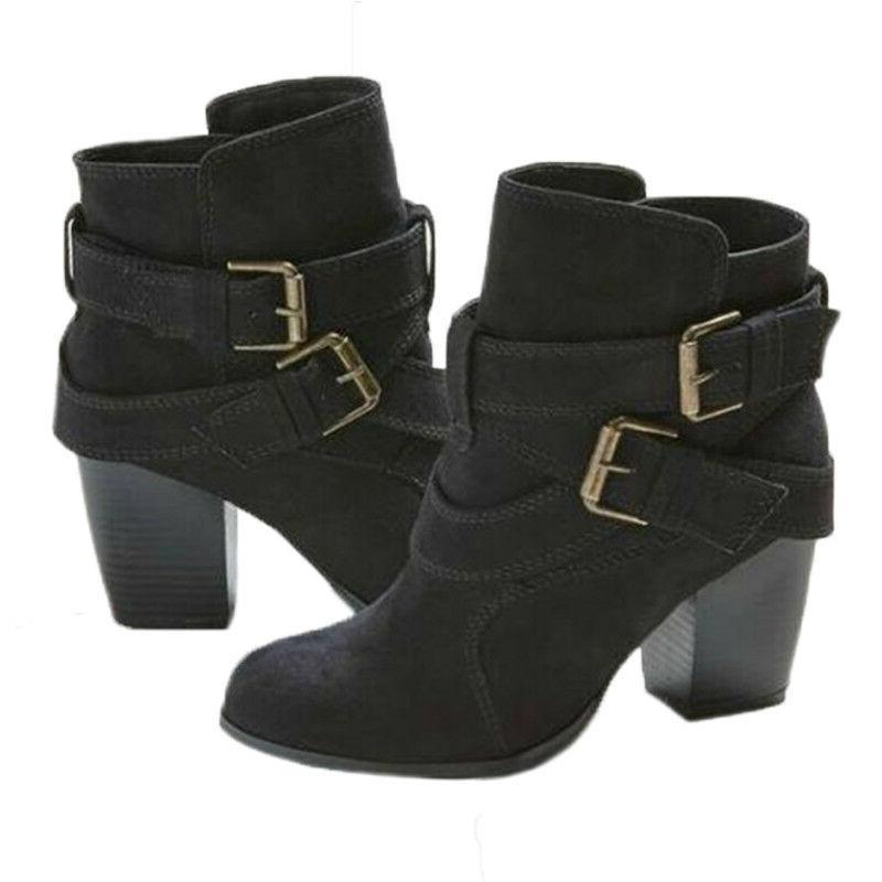 Womens Ladies Ankle Low Block Buckle Casual US
