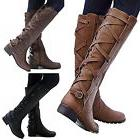 Womens Ladies Lace Up Zip Over Boots Knee High Mid Calf Bloc