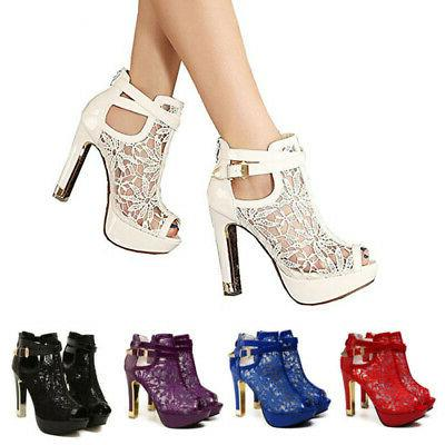 womens ladies platform high block heel sandals