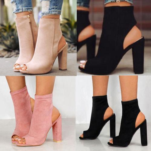 Womens Ladies Block Toe Shoes Size
