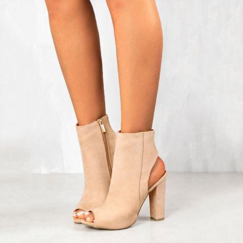 Womens Block Heel Open Toe Size