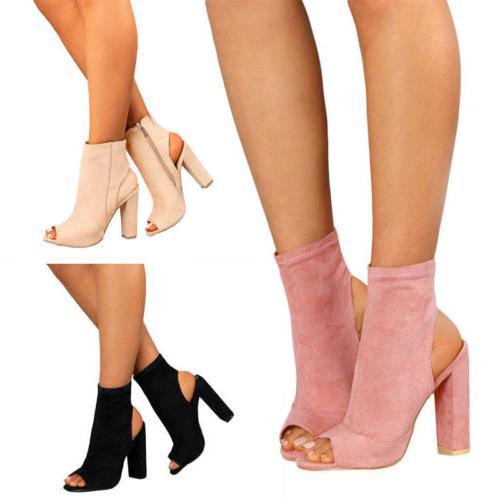 Womens Block Open Toe Ankle Size