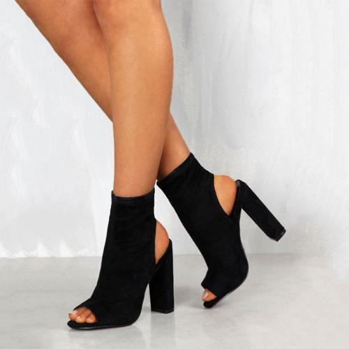 Womens Block Heel Sandals Toe Size