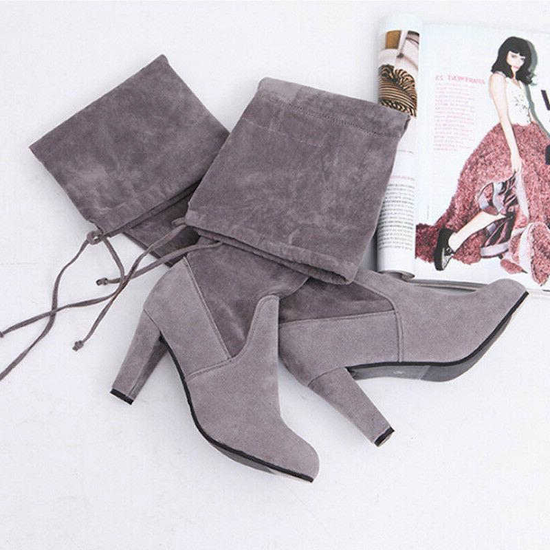 Womens Thigh Boots Over Heel 6-10.5