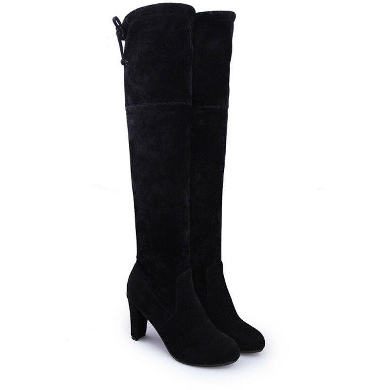Womens Ladies Thigh High Boots Over Knee Party Mid Heel