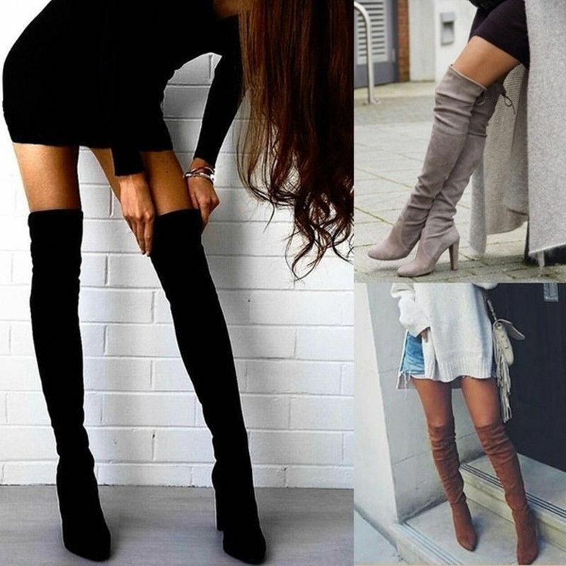 womens ladies thigh high boots over