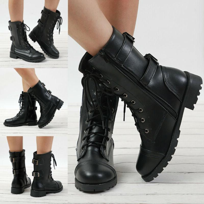 womens combat military ankle boots lace up