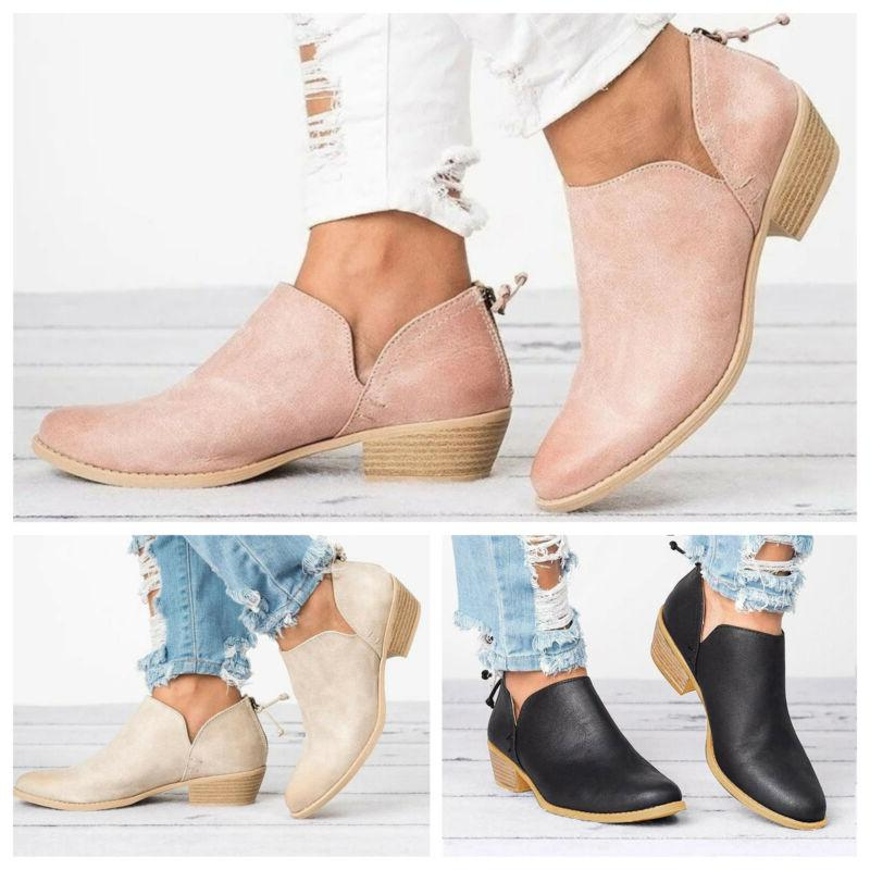 Womens Low Flat Short Ankle Round Zipper Up Casual Shoes
