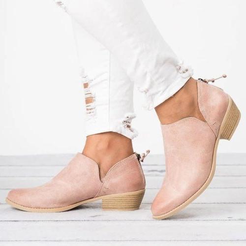 Womens Low Heels Boots Zipper Shoes 6-10.5