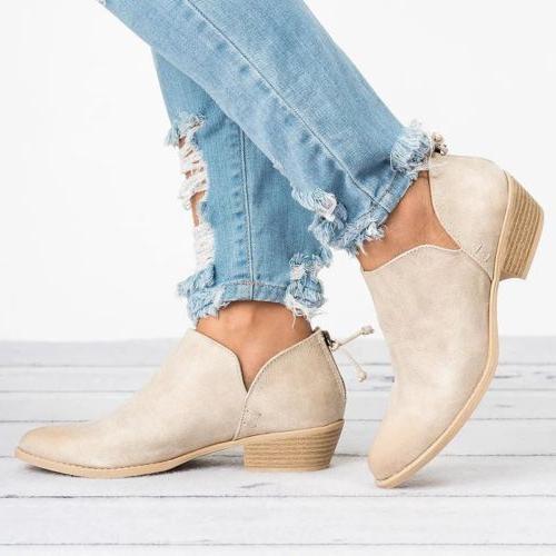 Womens Low Heels Boots Zipper Shoes