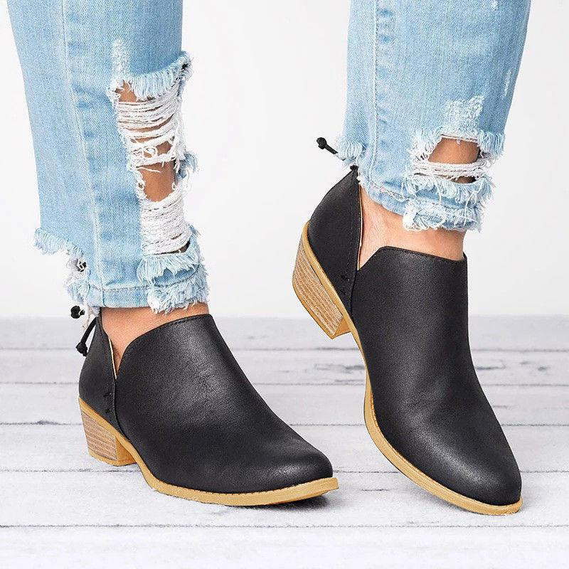 Womens Low Boots Booties Round Zipper Shoes 6-10.5