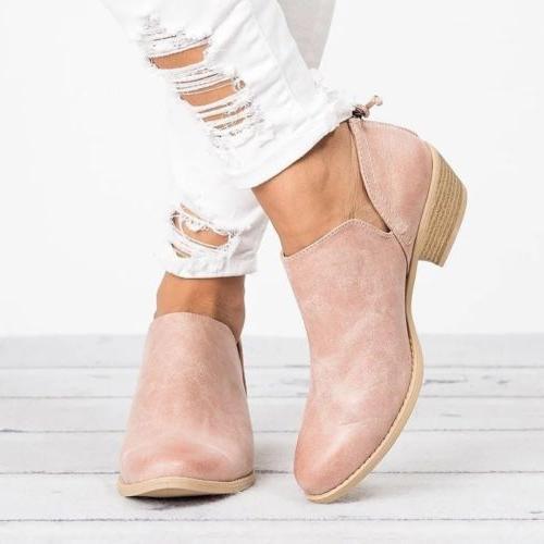 Womens Boots Booties Round Zipper 6-10.5