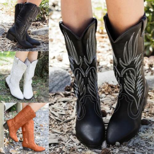 Womens Ladies Boots Wide Calf 6-9