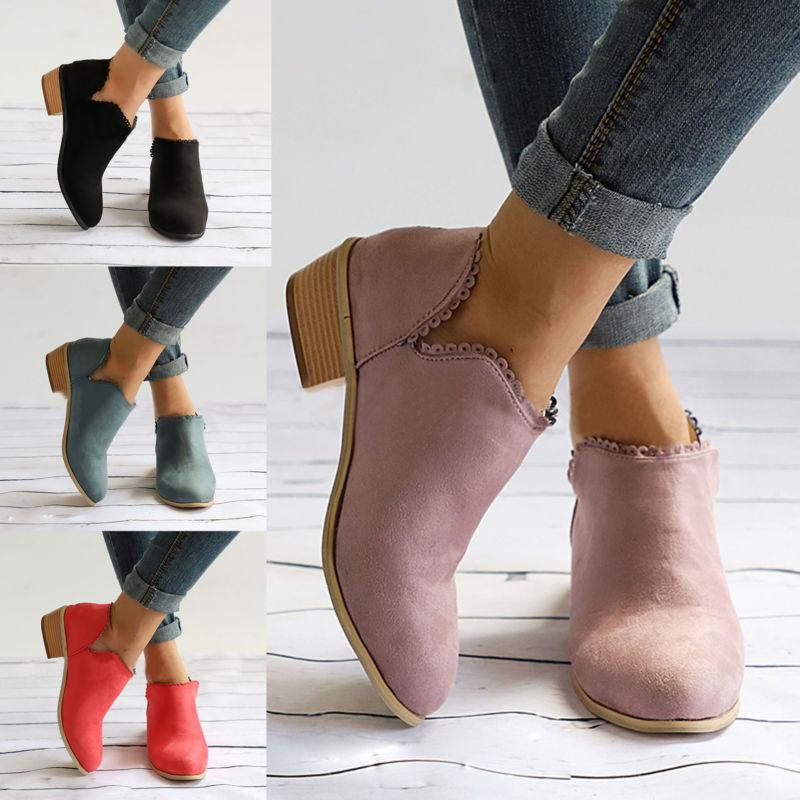 US Womens Stylish Ankle Short Boots Low Heel Mid Block Ladie