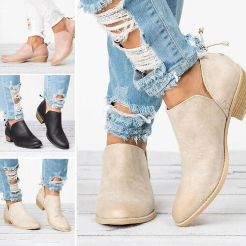 Womens Low Flat Heels Ankle Boots Round Toe Zip Casual Booti