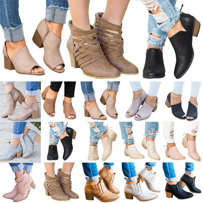 womens mid heels booties ankle boots zipper