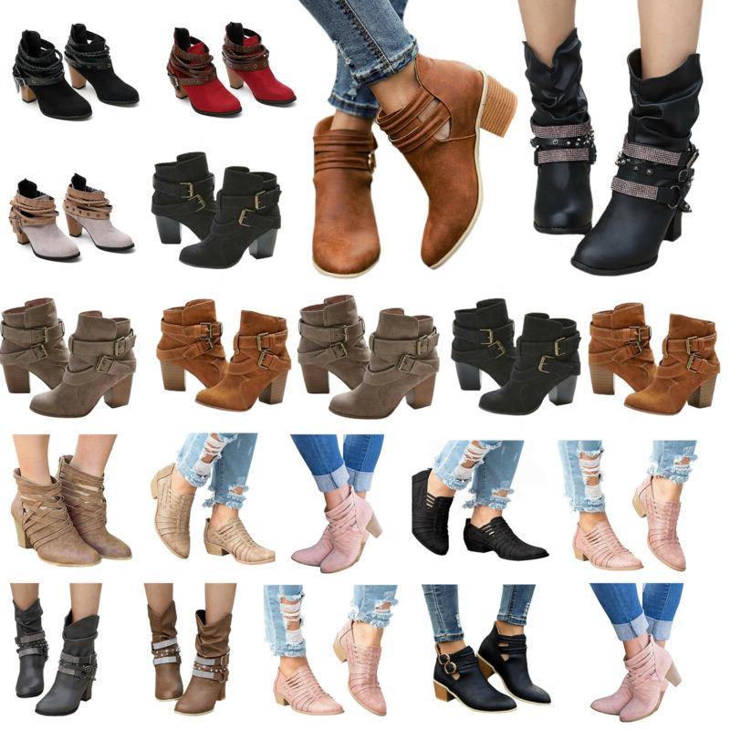 Womens Mid Heels Booties Ankle Boots Zipper Winter Low Shoes