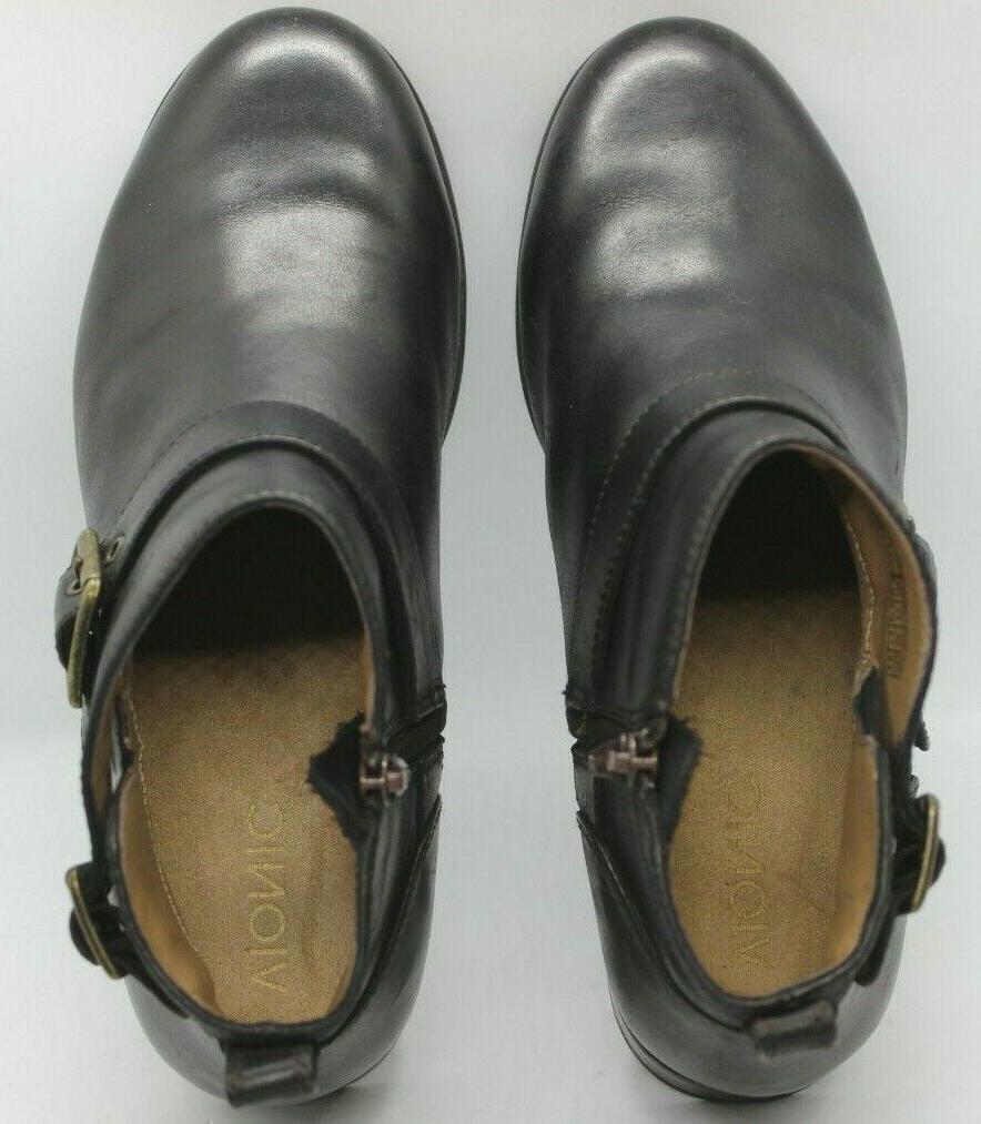 VIONIC Orthotic Logan Ankle Boots Sz 9.5 Beatle Leather