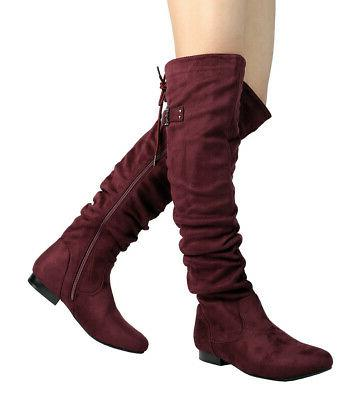 DREAM PAIRS Knee Thigh High Slouch Suede Low Choose