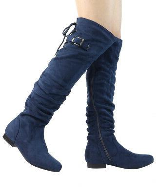 DREAM PAIRS Womens Over The Knee High Suede Low Heel Boots
