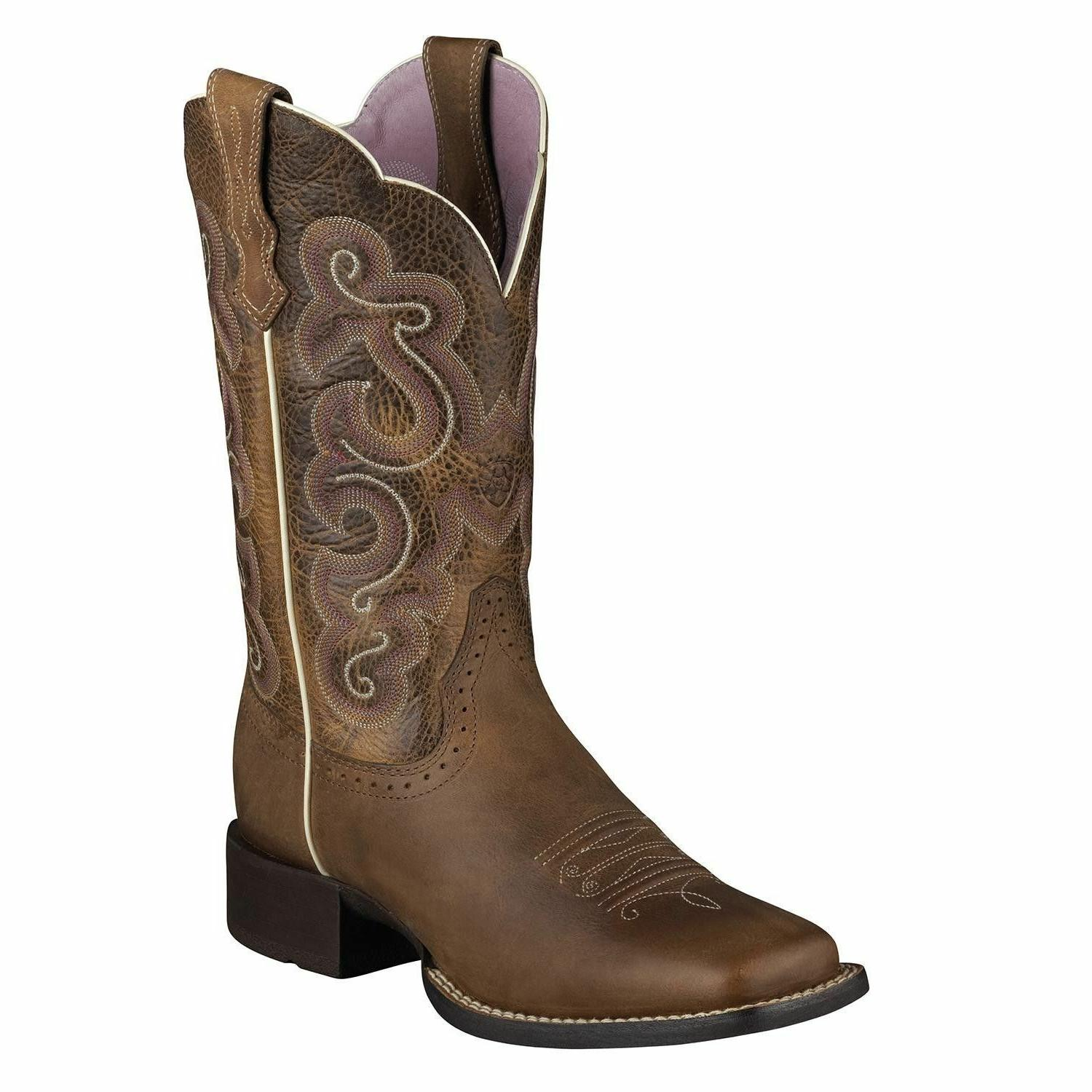 Ariat Womens Quickdraw Square Toe Western Boot Badlands Brow