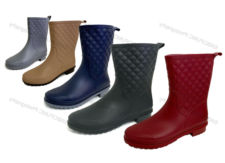 womens rain boots rubber mid calf block
