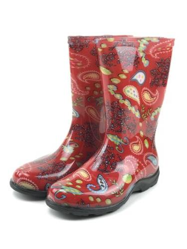 Sloggers Womens Red Paisley Waterproof Rain And Garden Boots