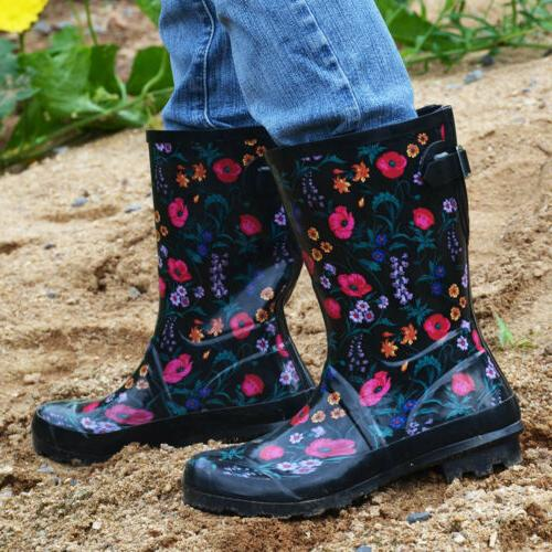 Womens Rubber Boots Floral Printed Pull On Water
