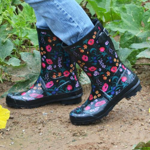 Womens Rubber Rain Floral Printed Pull Water