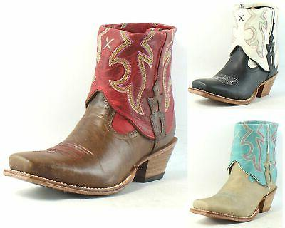 Twisted Womens Out Cuff Leather Cowboy, Western Ankle Boots