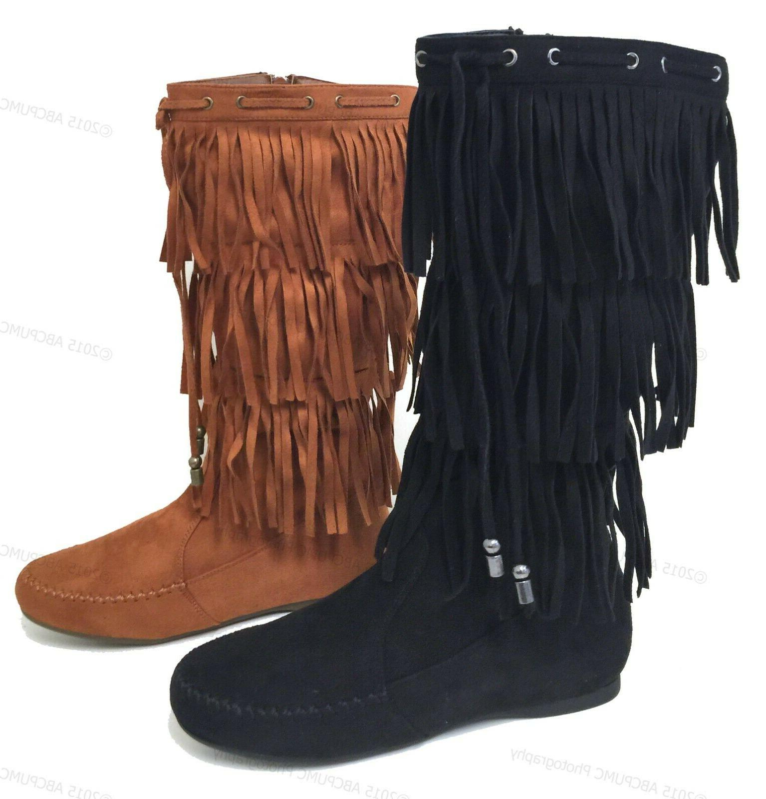 Womens Suede Tassel Fringe Moccasin Boots Flat Layer Mid Cal