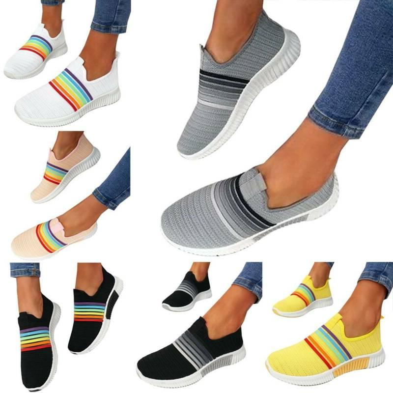Womens Dye Lace-up Flat Trainer Sneakers Rainbow Fitness Loafers