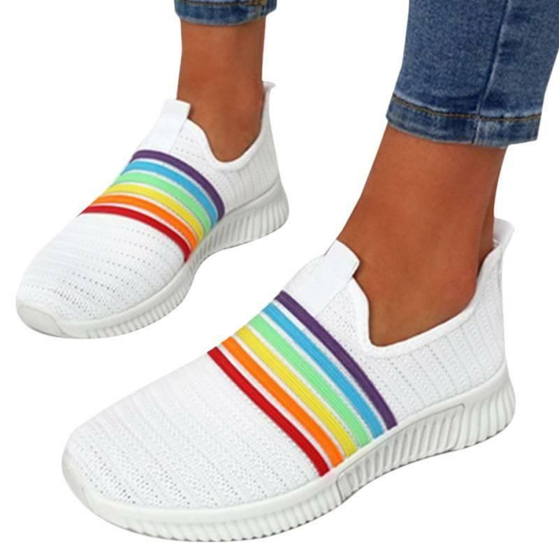 Womens Dye Lace-up Flat Trainer Sneakers Rainbow Fitness